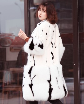 Mink Fur Long Coat With Fox Fur Trim