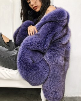 Purple Fox Fur Jacket