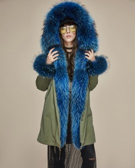 Raccoon Fur Trimmed Hooded Parka with Detachable Faux Rex Rabbit Fur Liner