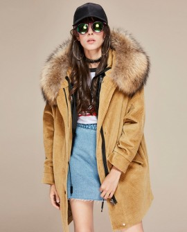 Raccoon Fur Trimmed Hooded Parka with Detachable Lamb Fur Liner