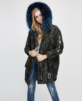 Raccoon Fur Trimmed Hooded Parka with Detachable Rex Rabbit Fur Liner