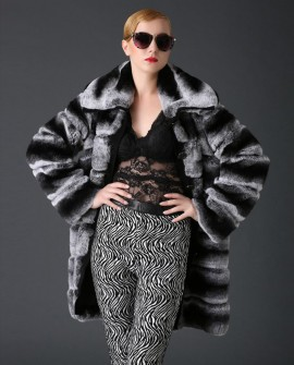 3/4 Length Rex Rabbit Fur Coat with Chinchilla Look