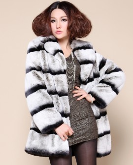 Rex Rabbit Fur Coat with Chinchilla Look