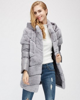 Rex Rabbit Fur Jacket with Detachable Down-filled Sleeves and Hood