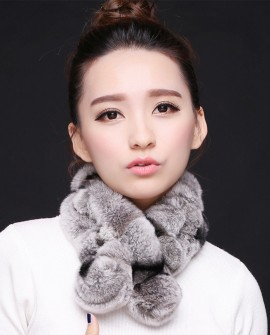 Rex Rabbit Fur Scarf Muffler, Gray with Black