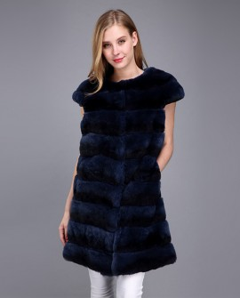 Rex Rabbit Fur Vest with Chinchilla Look