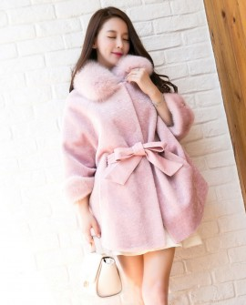 Shearling Lambwool Belt Coat with Fox Fur Collar