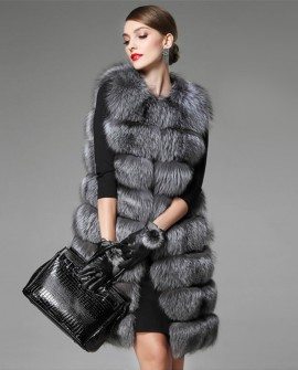 Silver Fox Fur Long Vest