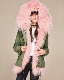 Tibet Sheep Fur Hooded Mini Parka