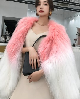 Two-Tone Knitted Raccoon Fur Jacket
