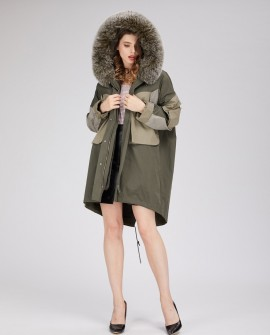 Winter Parka Coat with Rex Rabbit Fur Liner and Fox Fur Trimmed Hood