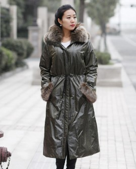 Women's Full Length Hooded Parka with Detachable Liner with Fox-Fur-Trimmed throughout