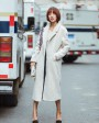 3-4 Length Shearling Lambwool Coat 701 Creamy White-2