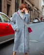 3-4 Length Shearling Lambwool Coat 701 Gray-5