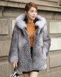 Blue Frost Fox Fur Coat with Hood 004b