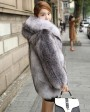 Blue Frost Fox Fur Coat with Hood 004c