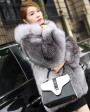 Blue Frost Fox Fur Coat with Hood 004d