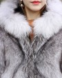Blue Frost Fox Fur Coat with Hood 004e