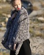 Chinchilla Fur Knitted Cape 045d
