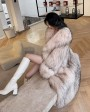 Knitted Raccoon Fur Long Coat fcor0222B-Beige