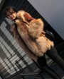 Crystal Fox Fur Coat with Double-Sided Wool Trim 991e