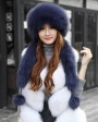 Fox Fur Hat with Fur Tails 875 Blue 1