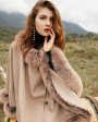 Fox Fur Trim Cashmere Cape 0106b