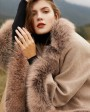 Fox Fur Trim Cashmere Cape 0106c
