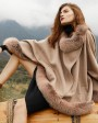 Fox Fur Trim Cashmere Cape 0106f