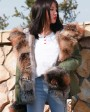 Fox Fur Trimmed Hooded Parka with Detachable Rex Rabbit Fur Liner 114o