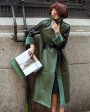 Full Length Shearling Sheepskin Coat 697 Green-2