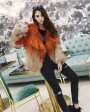 Gradient Color Knitted Fox Fur Jacket 984c