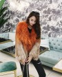 Gradient Color Knitted Fox Fur Jacket 984d