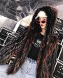 Hooded Fox Fur Jacket in Fantasy Color 0034c