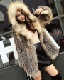 Hooded Fox Fur Knitted Jacket 929b