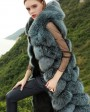 Hooded Long Fox Fur Vest 294c