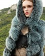 Hooded Long Fox Fur Vest 294f