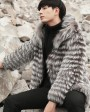 Hooded Men's Silver Fox Fur Coat 0001c
