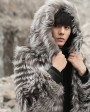 Hooded Men's Silver Fox Fur Coat 0001d
