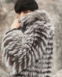 Hooded Men's Silver Fox Fur Coat 0001e