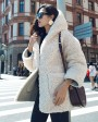Hooded Merino Shearling Sheep Fur Coat 107c