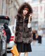 Hooded Silver Fox Fur Vest 693 Coffee 2