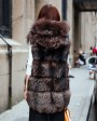 Hooded Silver Fox Fur Vest 693 Coffee 3