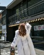 Knitted Cross Fox Fur Long Coat 923d