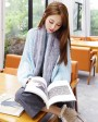 Knitted Rex Rabbit Fur Scarf 849 Gray 2