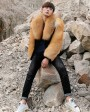 Men's Black Mink Fur Jacket with Red Fox Fur Collar and Sleeves 0011f