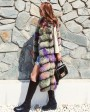 Multicolored Fox Fur Vest 928a