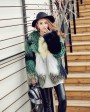Multicolored Knitted Fox Fur Jacket 982b