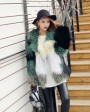Multicolored Knitted Fox Fur Jacket 982c