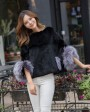 Pollover Rex Rabbit Fur Blouse Jacket 760 Black 1
